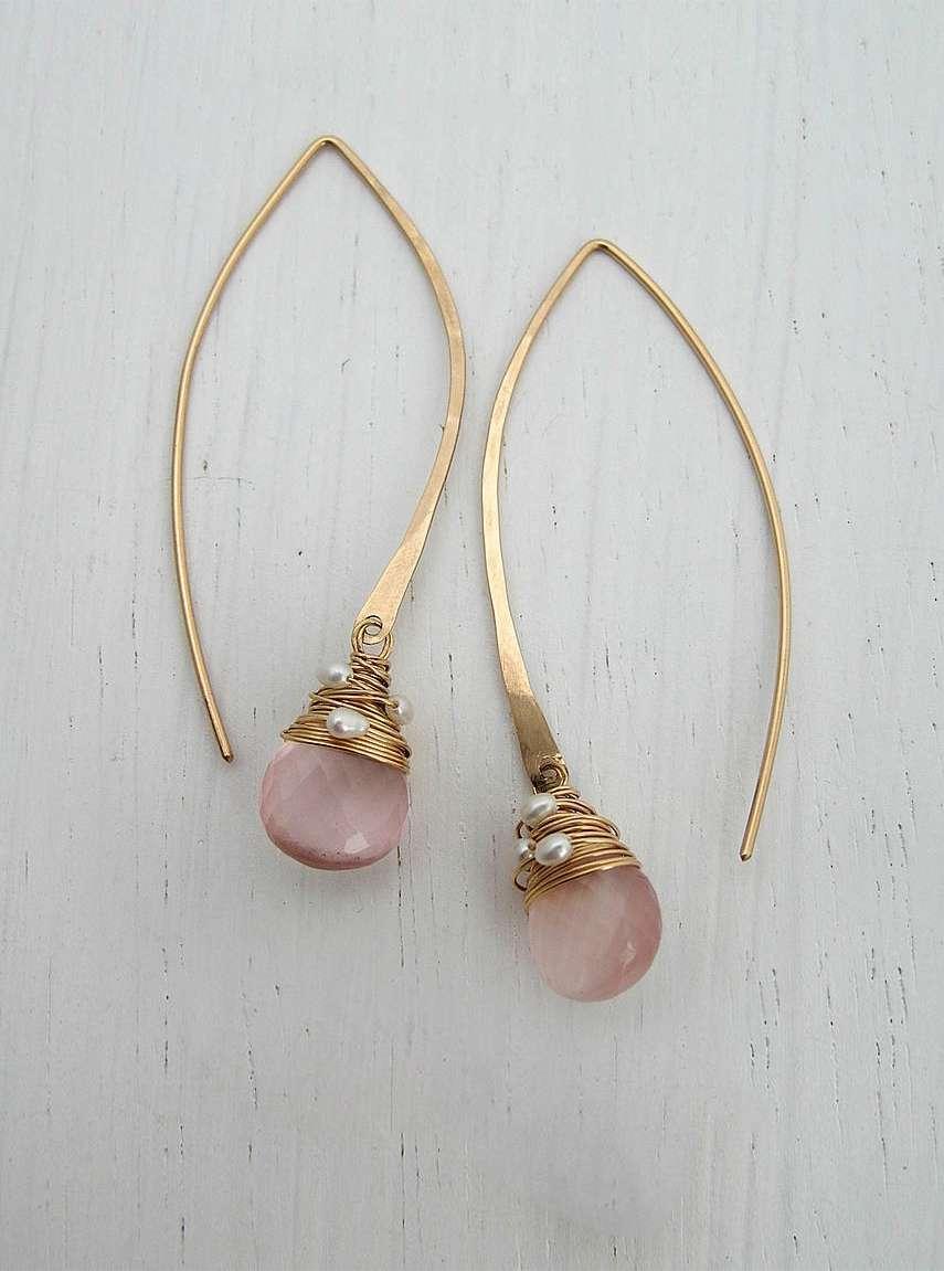 7284f009c Rose Quartz Long Hoops - Sarah Hickey Jewellery