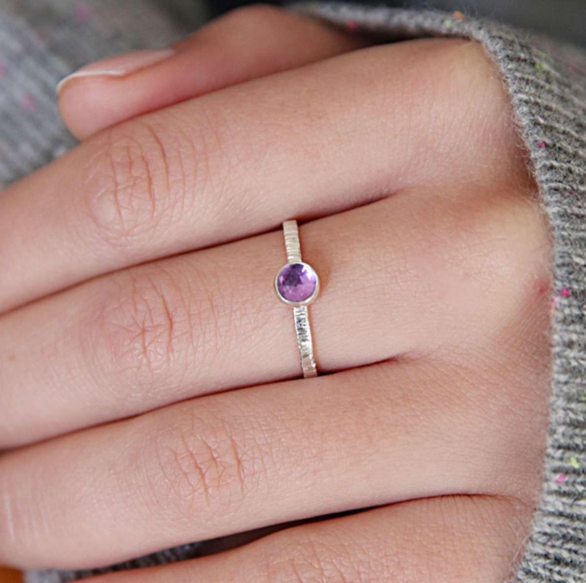 Amethyst Textured Ring - Sarah Hickey Jewellery