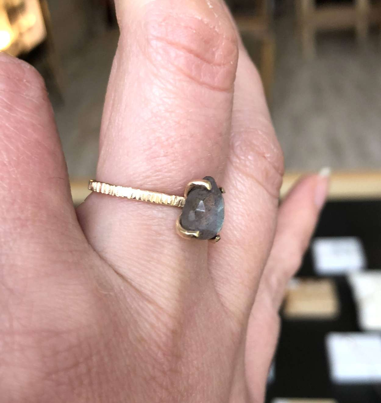 Labradorite Pear Ring - Sarah Hickey Jewellery