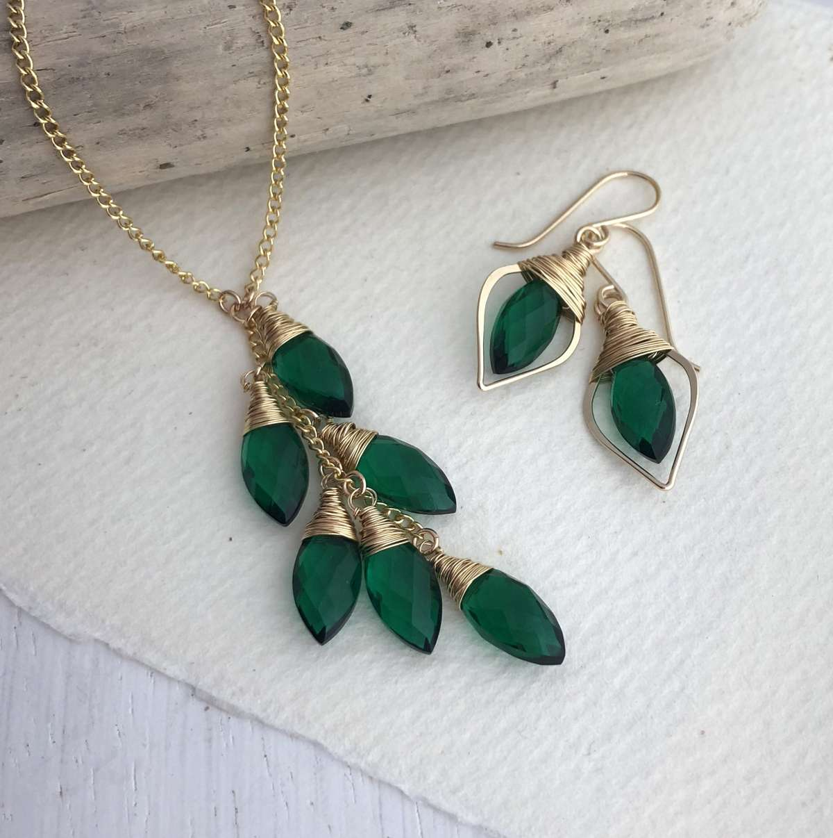 54c63bae0 Green Quartz Leaf Set - Sarah Hickey Jewellery